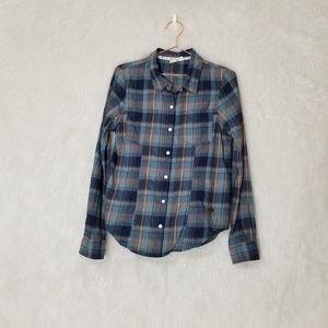 Roxy Button Down Blue Checkered Flannel
